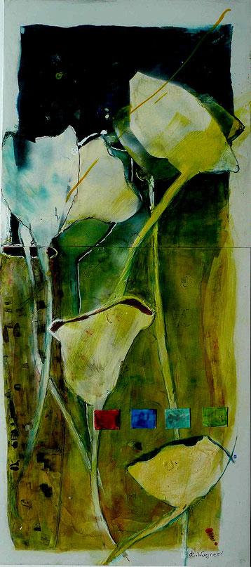 "Nr. 38 / ANNELIES WAGNER / ""Sonnenkelch"", Tintografik/Alu auf Leinwand, 50x100cm, 410,-€"