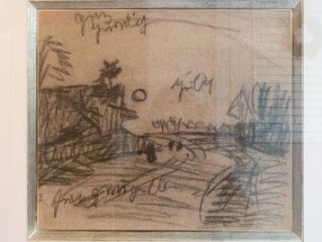"""Otto Modersohn, """"Weg im Moor mit Mond"""". Kreidezeichnung um 1890. 30 x 34,5 cm"""