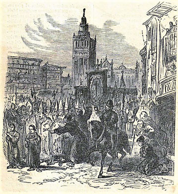 Ketzer werden in Sevilla zur Verbrennung geführt. Im Hintergrund die Kathedrale  (Museum der Inquisition in Sevilla. Zeit und Autor des Stichs kann ich nicht identifizieren)