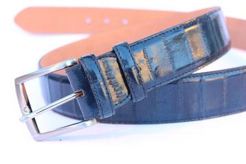 cintura pelle anguilla blu