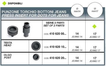 punzone torchio per bottoni jeans