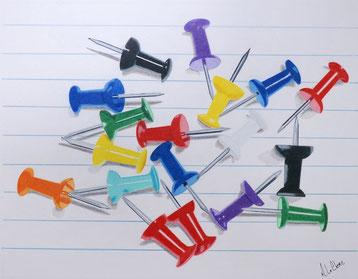 Coffre, Bois, Rouge, Cadenas, Rouille, Dessin aux crayons de couleur,