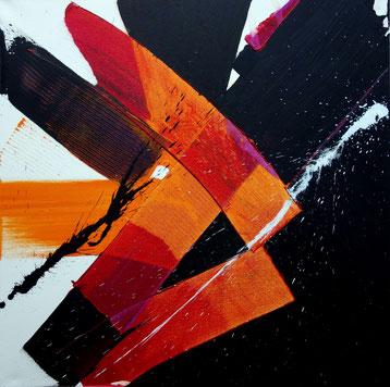 """""""R-évolution"""" - toile réalisée avec Benoit GUERIN - 60X60 - 2014"""