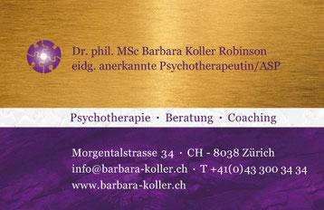 Visitenkarte für Fr. B. Koller-Robinson
