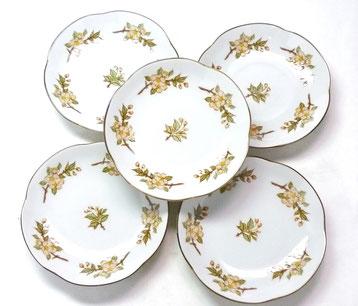 九谷焼通販 おしゃれな皿揃え 小皿 しだれ桜 4寸梅型 裏絵