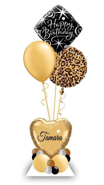 Ballon Luftballon Heliumballon Deko Gepard Leoprint Überraschung Mitbringsel Ballonpost Ballongruß Versand verschicken Helium Mädchen Idee Happy Birthday Alter Zahl Namen  Personalisierung Geschenk Ballonpost mit 1 2 3 4 5 6 7 8 9 pink schwarz silber weiß
