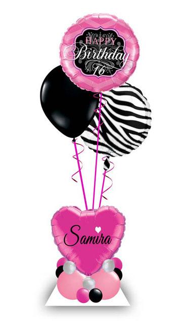 Ballon Luftballon Heliumballon Deko Zebra print Überraschung Mitbringsel Ballonpost Ballongruß Versand verschicken Helium Mädchen Idee Happy Birthday Alter Zahl Namen  Personalisierung Geschenk Ballonpost mit 1 2 3 4 5 6 7 8 9 pink schwarz silber weiß