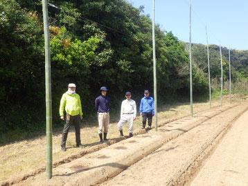 植え付け直後のホップ畑(海側)
