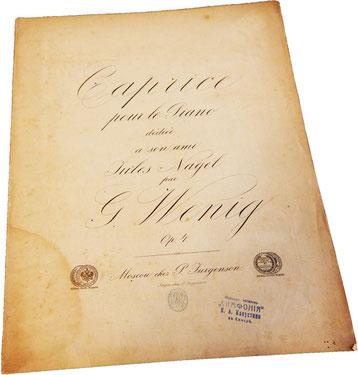 Каприс для фортепиано, Г. Вениг, нотная обложка