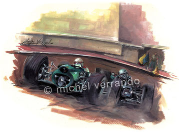 jackie stewart brm dennis hulme grand prix monaco art painting illustration
