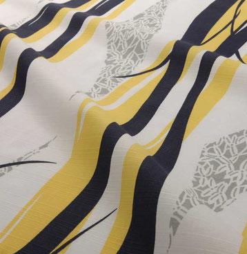 浴衣 沢瀉小紋縞(おもだかこもんじま)直虎の名前から勇敢な虎を思わせる勢いのあるタテ縞模様を描きました