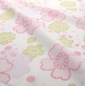 浴衣 遠江の桜(とおとうみのさくら)春の井伊谷の地を彩る桜を優しい色合いで表現致しました