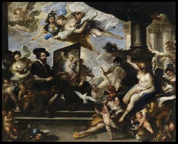 Particolare del quadro di Luca Giordano. Rubens dipinge l'allegoria della Pace