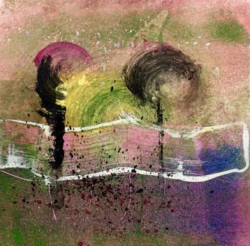 Onda e movimenti, 2018, tecnica mista, 11 x 11 cm