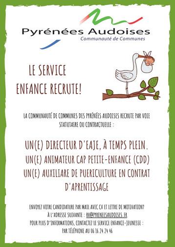 Pyrénées Audoises - le service enfance jeunesse recrute