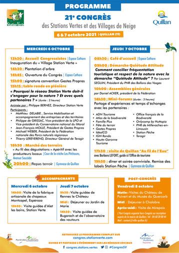 Programme du Congrès national des Stations Vertes à Quillan