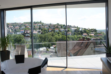 Schiebetür Panoramaschiebetür filigran und barrierefrei aus hochwertigem Aluminium