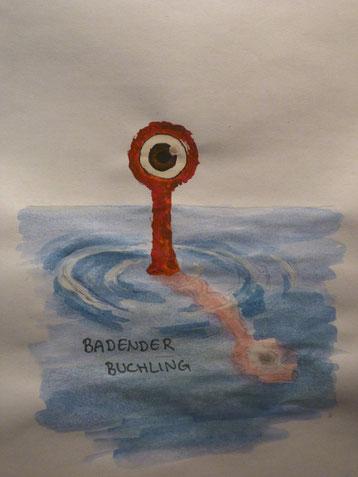 Der badende Buchling, mein zweites Zamonienbild. Ich mag es, auch wenn die Spiegelung ein wenig schief geraten ist.