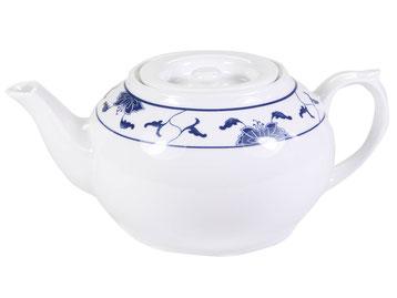Tekanne mit flachem Deckel aus Tatung, Li, Cameo oder Datung Porzellan mit blauem Lotus Motiv (Motivnr. 518 / 255). In verschiedenen Größen und Motiven erhältlich.