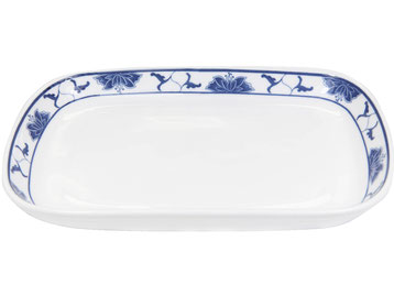 Menagen Servierteller aus Tatung, Li, Cameo oder Datung Porzellan mit blauem Lotus Motiv (Motivnr. 518 / 255). In verschiedenen Größen und Motiven erhältlich.