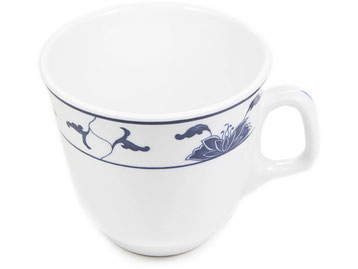 Kaffeetasse mit Henkel Tatung, Li, Cameo oder Datung Porzellan mit blauem Lotus Motiv (Motivnr. 518 / 255). In verschiedenen Größen und Motiven erhältlich.