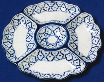 5-teiliger Rundteller aus Thailand. Mit besonderem Ananas Blumenmuster in blau-weißer Farbe.