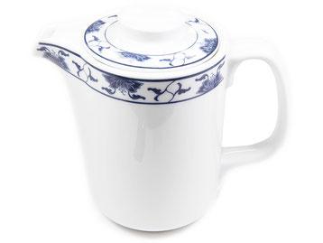 Kaffeekanne mit Deckel aus Tatung, Li, Cameo oder Datung Porzellan mit blauem Lotus Motiv (Motivnr. 518 / 255). In verschiedenen Größen und Motiven erhältlich.