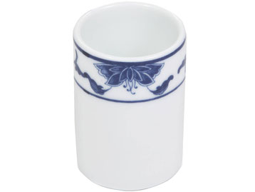 Zahnstocher Behälter aus Tatung, Li, Cameo oder Datung Porzellan mit blauem Lotus Motiv (Motivnr. 518 / 255). In verschiedenen Größen und Motiven erhältlich.