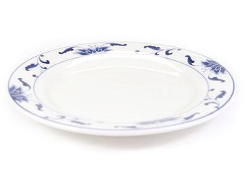 Flache runde Essteller mit abgeflachtem Rand aus Tatung, Li, Cameo oder Datung Porzellan mit blauem Lotus Motiv (Motivnr. 518 / 255). In verschiedenen Größen und Motiven erhältlich.