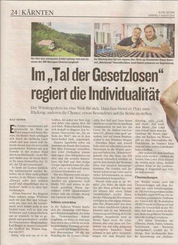 Just an dem Tag an dem wir durch die Wimitz radelten erschien in der Kleinen Zeitung ein großer Bericht über die Wimitz