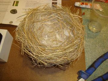 recreación de un nido, para exposición en el Castillo de Montemayor