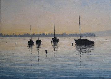 Boote bei Allensbach (Öl auf Leinwand, 25 x 35 cm, verkauft)