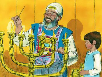 Le jeune Samuel né miraculeusement est au service de Jéhovah auprès du prêtre Eli dont les fils, Hophni et Phinées, sont des vauriens (1 Samuel 2 :12-17). Ce n'est que très âgé qu'Eli apprend le comportement impardonnable de ses fils.