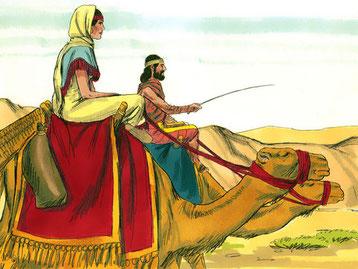 Isaac, fils d'Abraham, et Rebecca, son épouse, fuient la famine et s'installent à Guérar dirigé par Abimélec, roi des Philistins. Là, Dieu bénit leurs récoltes et Isaac devient de plus en plus riche. Les Philistins en ressentent de l'envie.