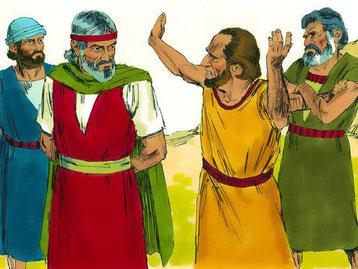 Corée, Dathan et Abiram sont jaloux des responsabilités confiées par Dieu à Moïse. Koré, Dathan et Abiram se révoltent contre l'autorité de Moïse et entraînent avec eux 250 hommes de renom. Dans le camp, ils devinrent jaloux de Moïse, le saint de Jéhovah.