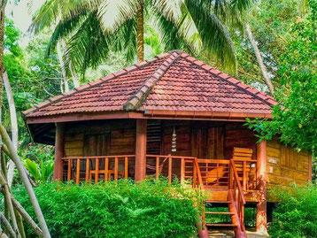 Sfeervolle cottage van het Palm Paradise cottages in Tangalle Sri Lanka