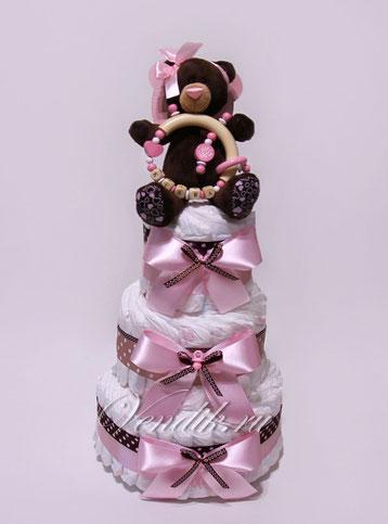 """Подарок из памперсов в виде торта Торт из памперсов с именной погремушкой и шоколадным мишкой """"Шокко"""""""