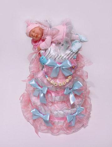 """Подарок из памперсов в виде торта Торт из памперсов с именным держателем для соски""""Маленькая Фея"""""""