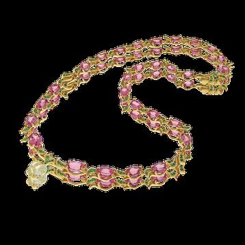 Edelstein und Diamanten Collier in Gelbgold, angefertigt auf Kundenwunsch von der Goldschmiede OBSESSION Zürich und Wetzikon