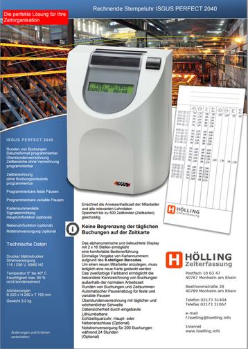 Prospekt ISGUS PERFECT 2040 - Stempeluhr mit komfortabler Rechenfunktion - rechnende Stempeluhr
