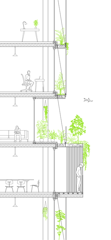 Detailed section drawing. Facade design for the General Tower in Linz. Ecological redesign with a light white structure and green plants for a better microclimate.