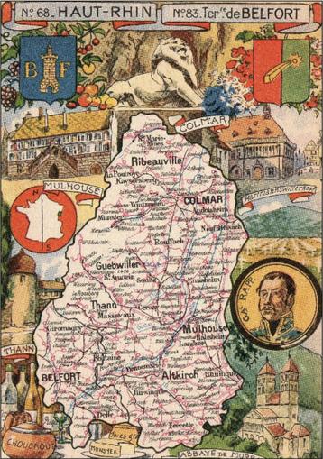 Recto d'une carte postale timbrée au dos envoyée depuis le Haut-Rhin