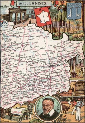 Recto d'une carte postale timbrée envoyée depuis les Landes