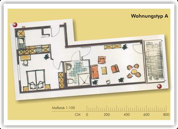 SeidenCarré betreutes Wohnen Krefeld Wohnung Grundriss A