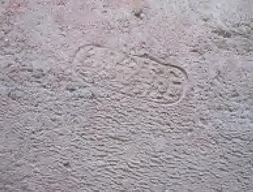煉瓦の蔵の周辺で発見された煉瓦。「上敷免製」の刻印がある