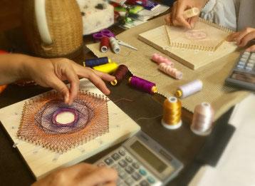 糸かけ曼荼羅の制作