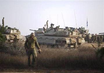 Israelsk hær ved grænsen til Gazastriben
