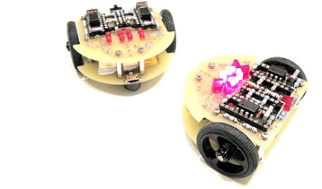 interacting light sensing robots with analog control circuit
