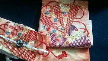 戦前手刺繍帯を二部式にした。石村製、作成時間1時間