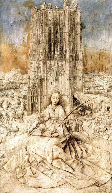 Ян ван Эйк. Св. Варвара, 1437 г., дерево, масло, 31 x 18 см